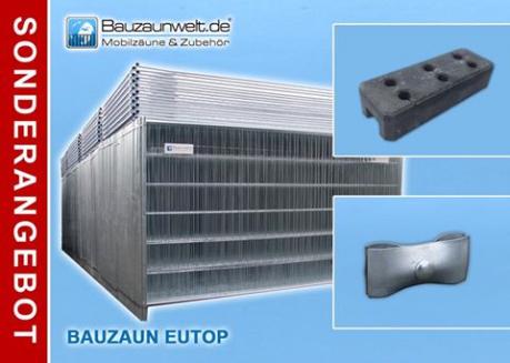 Bauzaun EUTOP inkl. Transportpalette, Betonstein und Verbinder 30er Set
